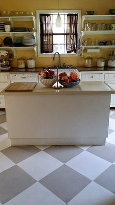 Painted linoleum floors farmhouse kitchen remodel little white house blog little white - Linoleum arbeitsplatte ...
