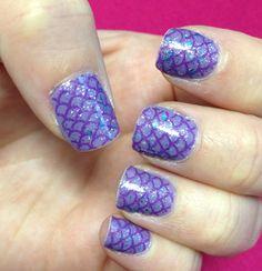 Mermaid nails using Mash nail stamping plate.