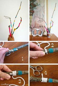 DIY Yarn Wrapped Twigs Diy Ideas Crafts Do It Yourself Home Iy Craft Decor Decoration Easy