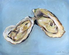 Oysters Giclee Print, New Orleans artist CamilleBarnes Seafood Art, FREE SHIPPING! print of painting of paper  unframed