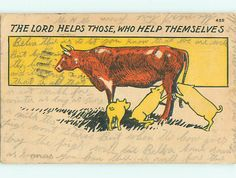 The Lord Helps Those Who Help Themselves Funny Cows, Moose Art, Lord, Comic Books, Comics, Animals, Animales, Animaux, Animal