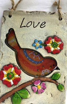 Joyful Bird Love Plaque Sign With Flowers
