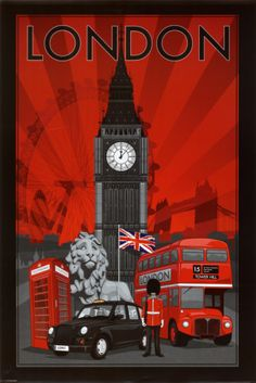 "London travel poster (Big Ben, telephone box, Union Jack, double-decker bus)-----and Tower Bridge and ""my"" beautiful Trafalgar lion! London has always been THE place for me. If I were to die without seeing it, I'd feel my life would be wasted. Poster S, Poster Prints, Art Print, Poster Collage, London Bus, London Icons, London City, Thinking Day, London Travel"