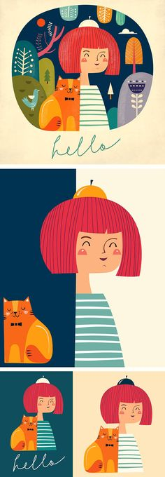 Illustrations with girls by MoleskoStudio on @creativemarket