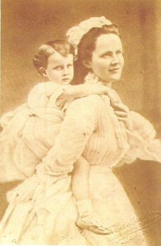 Elisabeth of Wied, Queen of Romania with her only child, Princess Maria of Romania, 1872, National Museum of Romanian History