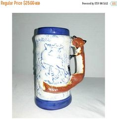 German Style Beer Stein,Fox Handle,Blue & White Majolica Stein,Beer Mug,Embossed,Gifts for Him,German Stein,Foxy,Father's Day,Deer,Fox,1970s by JunkYardBlonde on Etsy