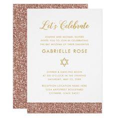 Modern Rose Gold Glitter Bat Mitzvah Reception A7 Card - glitter glamour brilliance sparkle design idea diy elegant