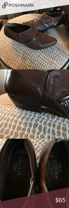 AUTHENTIC Neil Stephen brown leather western boot Wow! Hard to find! Authentic Neil Stephen collection ankle height western boot slip on's worn gently with still a ton of miles to go! These are real stunners! Made in Brazil. neil Stephen Shoes Ankle Boots & Booties