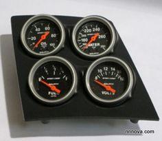 1968-1974 Nova Console Black Finish Quad Pod with Auto Meter Sport Comp Electric Gauges