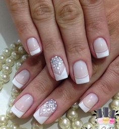 French tip nail designs fresh rhinestone art ideas of idea acrylic nails faded . french tip cute acrylic nails gel . Nail Art Rhinestones, Rhinestone Nails, French Tip Nail Designs, Nail Art Designs, Nail Deco, Gel Nails French, Wedding Nails Design, Floral Nail Art, Crystal Nails