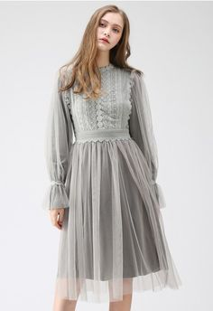 cdd75f23dbc Enchanted Fairytale Lace Mesh Dress in Cream - NEW ARRIVALS - Retro