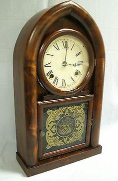 Antique Mantel Shelf Waterbury Mahogany Clock 8 Day | eBay