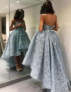 High Low Sweetheart Sleeveless Light Sky Blue Lace Prom Dress with Appliques,Off the shoulder dress,Sexy dress