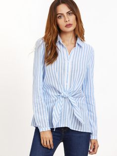 Blue Vertical Striped Knotted Front Blouse