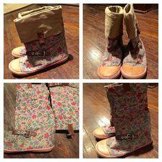canvas floral boots