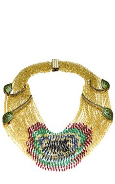 One-Of-A-Kind Sapphire, Emerald, Spinel & Diamond Grand Peacock Necklace by Madhuri Parson, Spring Summer 2014 (=)