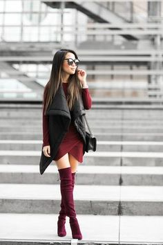 Layered Vests :: Quilted Vest & Burgundy boots