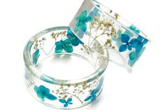 39.99 Blue real flower resin bangle resin bracelet by NThandmadeJewelry