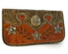 American West® Desert Wildflower, Tooled Leather Tri-Fold Wallet