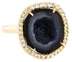 yellow gold Kimberly McDonald cocktail ring featuring fancy cut geode and carats of round brilliant diamonds. Mikimoto Pearls, Keshi Pearls, Wedding Jewelry For Bride, Kimberly Mcdonald, Rings Online, Brilliant Diamond, 14 Karat Gold, Silver Enamel, Cocktail Rings