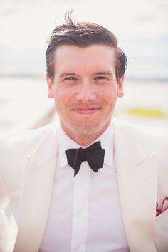 white dinner jacket   black bow tie | Tim Will #wedding | See more about Dinner Jackets, Black Bow Tie and Black Bows.