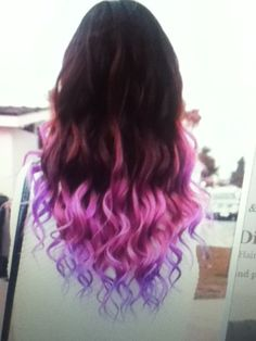 Not exactly ombre hair but with the pink fading into purple at the tips is pretty cool.