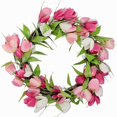 SPRING~EASTER~BLUSH PINK & WHITE TULIPS~DOOR WREATH DECORATION~NEW~FREE SHIPPING | Home & Garden, Home Décor, Floral Décor | eBay!