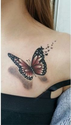 55 Shoulder Tattoo Designs You Want to Try Next - List of the most beautiful tattoo models Realistic Butterfly Tattoo, Watercolor Butterfly Tattoo, Butterfly Tattoos Images, Colorful Butterfly Tattoo, Butterfly Tattoo Designs, Tattoo Designs Men, Tattoo Images, Butterfly Pictures, Flower Tattoos