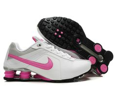 Nike Shox R4 Womens Running Shoe Pink Logo White