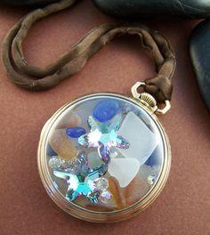 Sea Glass Locket Vintage Pocket Watch Case with Ocean Treasures