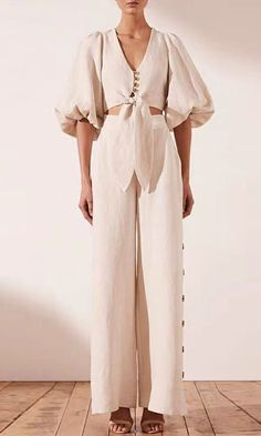 First And Foremost Beige Short Puff Sleeve V Neck Button Tie Crop Top Loose Wide Leg Side Button Pant Two Piece Jumpsuit - Sold Out Look Fashion, Womens Fashion, Fashion Design, Fashion Trends, Two Piece Jumpsuit, Two Piece Dress Casual, Two Piece Outfits Pants, Short Tops, Crop Tops
