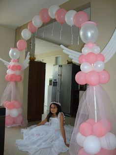 Baptism Party, Baby Party, Baby Shower Parties, Baby Shower Themes, Balloon Crafts, Balloon Gift, Balloon Garland, Ballon Decorations, Birthday Decorations