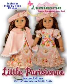 "PDF Dress Pattern With Hat Fits 18/"" American Girl Doll Blaire Nanea Lea Saige"