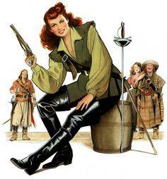 Original Comic Art titled Spitfire and her scurvy crew, located in Brian's Betrayin's all part of piratin'. Comic Kunst, Comic Art, Robin Robinson, Pirate Movies, Alex Pardee, Pirate Woman, Pirate Art, Lady Pirate, Maureen O'hara