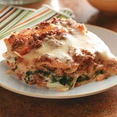 Spinach Alfredo Lasagna Slow Cooker Recipe from Taste of Home -- submitted by Deborah Bruno of Mira Loma, California #Lasagna #Slow_Cooker