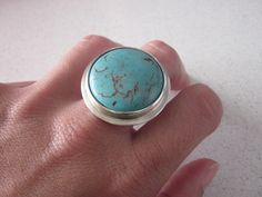Sterling Silver Ring with Tourquoise.   Just my size!
