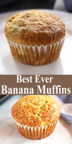 These Best Ever Banana Muffins are the best banana muffins you ll ever try - crispy on the outside and fluffy on the inside And so easy to make in only one bowl Ready in minutes Recipe from Simple Muffin Recipe, Basic Muffin Recipes, Banana Bread Recipes, Banana Recipes Videos, Frozen Banana Recipes, Healthy Banana Recipes, Banana Breakfast Recipes, Banana Dessert Recipes, Cupcake Recipes
