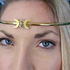 Crescent Moon Headpiece in Brass  Free People Crown circlet made to honor the Gods and Goddesses within each one of us. It can be worn for celebrating your inner spirit and beauty, for meditation, rituals, ceremonies and seasonal holidays. You may notice that upon wearing one, it brings forth positive emotions and often becomes a family or community heirloom. Only worn once. In excellent condition. ❌ No Trades ❌ Free People Jewelry