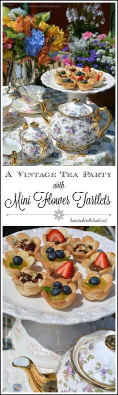 Vintage Tea Party and Mini Flower Tartlets! Link includes recipe for tea sandwiches too! | homeiswheretheboatis.net #teatime #recipe #garden
