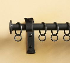 Iron Curtain Rails with a finial that looks just like a large hand-made rivet, our Button finials are practical and simple, these wrought iron curtain rails will lend a traditional look to your room. Wooden Curtain Poles, Metal Curtain Pole, Curtain Brackets, Wood Curtain, Curtain Rails, Curtain Hardware, Curtain Ideas, Luxury Curtains, Rustic Curtains