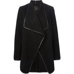 Agnona Wrap Style Coat (£1,310) ❤ liked on Polyvore featuring outerwear, coats, jackets, coats & jackets, casacos, black, long sleeve coat, wool cashmere coat, cashmere wrap coat and wrap coat