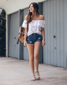 White top and denim shorts for summer style