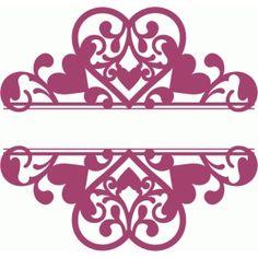 Silhouette Design Store: flourish heart split damask