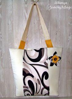 Borse di stoffa - Borsa con fiore - un prodotto unico di Alkimya-Bags-Jewelry su DaWanda