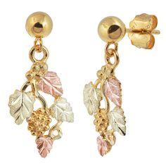 Landstrom S Black Hills Gold Leaf And Gs Ball Post Dangle Earrings 12k Leaves 10k