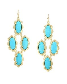 Carla Chandelier Earrings in Turquoise - Kendra Scott Island Escape preview, in stores and online April 24, 2013 at 5pm CST.