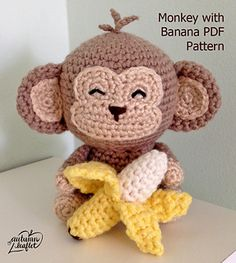 This is a crochet pattern only. You will receive a .pdf digital file with steps and descriptions to complete the monkey and banana.