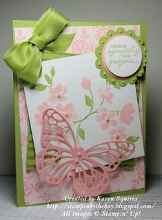Here's a card I made using the I Love Lace Background Stamp and the Painted Petals Stamp Set. I added the Medium Size Butterfly Thinlit Die. http://stampinbythebay.blogspot.com/2015/01/i-love-lace-and-painted-petals.html