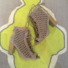 Taupe cutout heels #swoonboutique