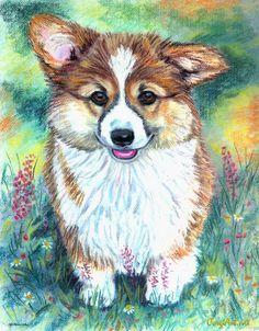 Pembroke Welsh Corgi Beautiful Original Pastel Painting 11x14 Dog Lover Portrait